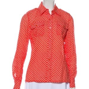 Tory Burch Red/Orange and White Button Up Cotton 0